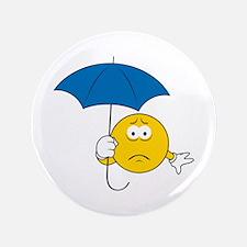 """Umbrella Sad Smiley Face 3.5"""" Button"""