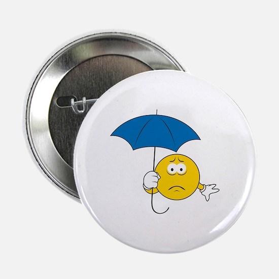 """Umbrella Sad Smiley Face 2.25"""" Button"""