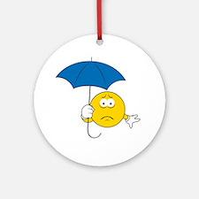 Umbrella Sad Smiley Face Ornament (Round)