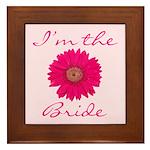 Pink Daisy Bride Framed Tile