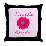 Pink Daisy Bride Throw Pillow