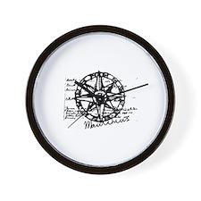 Compass b&w Wall Clock