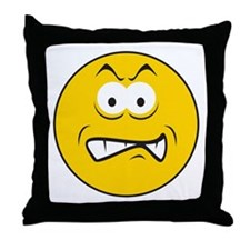 Snarling/Growling Smiley Face Throw Pillow