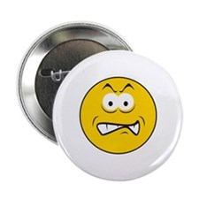 """Snarling/Growling Smiley Face 2.25"""" Button"""