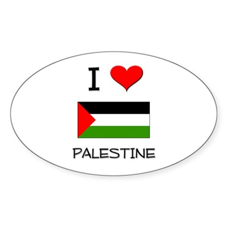 I Love Palestine Oval Sticker