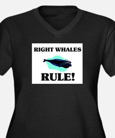 Right Whales Rule! Women's Plus Size V-Neck Dark T