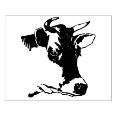 Silhouette Cow head Posters