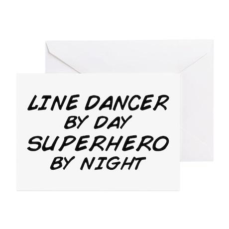 Line Dancer Superhero by Night Greeting Cards (Pk