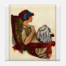Flapper with Embroidery Hoop Tile Coaster