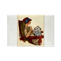 Flapper with Embroidery Hoop Rectangle Magnet