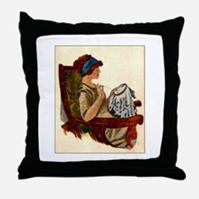 Flapper with Embroidery Hoop Throw Pillow