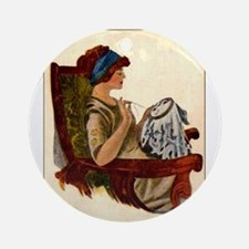 Flapper with Embroidery Hoop Ornament (Round)