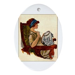 Flapper with Embroidery Hoop Oval Ornament