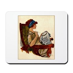 Flapper with Embroidery Hoop Mousepad