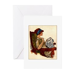 Flapper with Embroidery Hoop Greeting Cards (Pk of