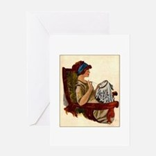 Flapper with Embroidery Hoop Greeting Card