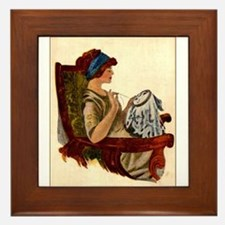 Flapper with Embroidery Hoop Framed Tile