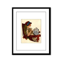 Flapper with Embroidery Hoop Framed Panel Print