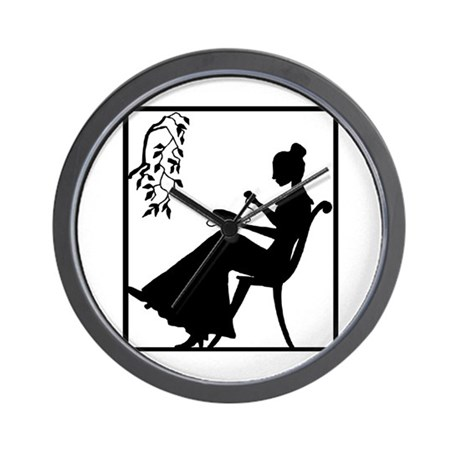 Silhouette Woman with Embroid Wall Clock