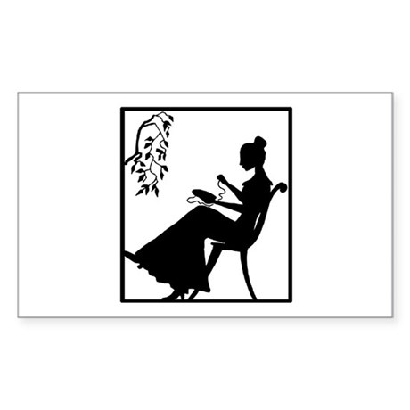 Silhouette Woman with Embroid Rectangle Sticker