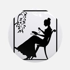Silhouette Woman with Embroid Ornament (Round)