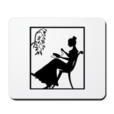 Silhouette Woman with Embroid Mousepad