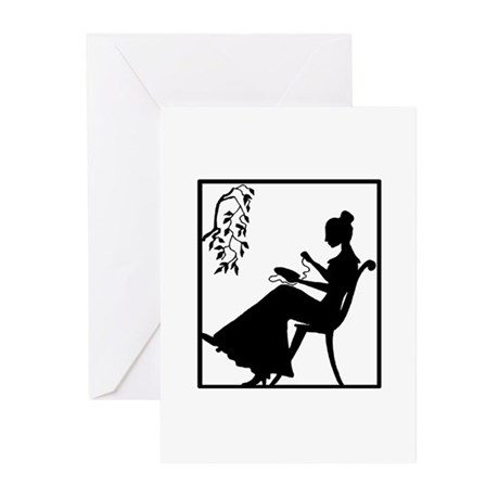 Silhouette Woman with Embroid Greeting Cards (Pk o