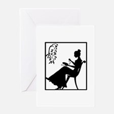 Silhouette Woman with Embroid Greeting Card