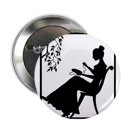 """Silhouette Woman with Embroid 2.25"""" Button"""