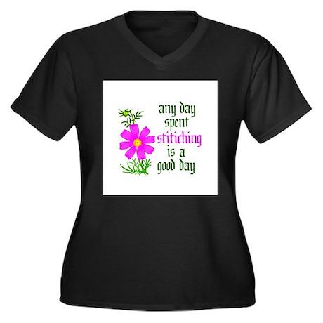 Any Day Spent Stitching - Goo Women's Plus Size V-