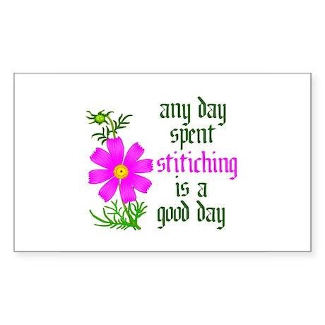 Any Day Spent Stitching - Goo Rectangle Sticker