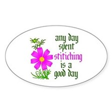 Any Day Spent Stitching - Goo Oval Decal