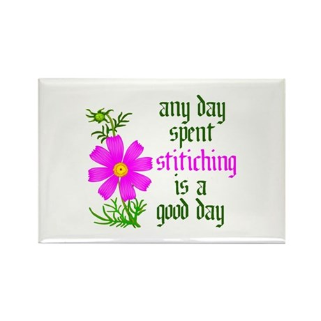 Any Day Spent Stitching - Goo Rectangle Magnet