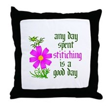 Any Day Spent Stitching - Goo Throw Pillow