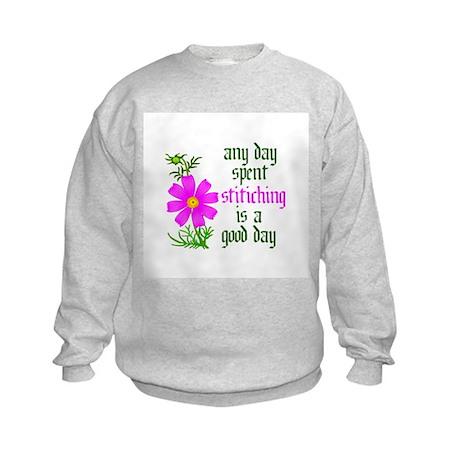 Any Day Spent Stitching - Goo Kids Sweatshirt