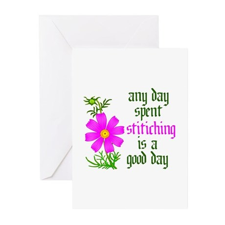 Any Day Spent Stitching - Goo Greeting Cards (Pk o