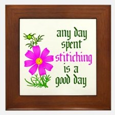 Any Day Spent Stitching - Goo Framed Tile