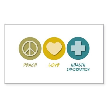 Peace Love Health Information Rectangle Sticker 5
