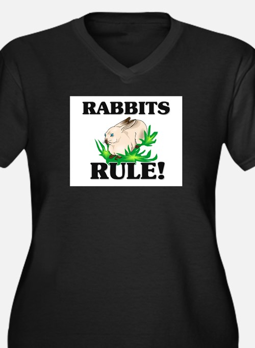 Rabbits Rule! Women's Plus Size V-Neck Dark T-Shir