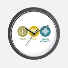 Peace Love Health and Safety Wall Clock