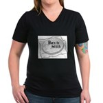 Embroidery Hoop - Born to Sti Women's V-Neck Dark