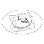Embroidery Hoop - Born to Sti Oval Sticker (10 pk)