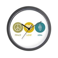 Peace Love Heal Wall Clock