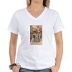 Vintage Sewing Machine Ad Women's V-Neck T-Shirt