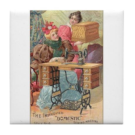 Vintage Sewing Machine Ad Tile Coaster