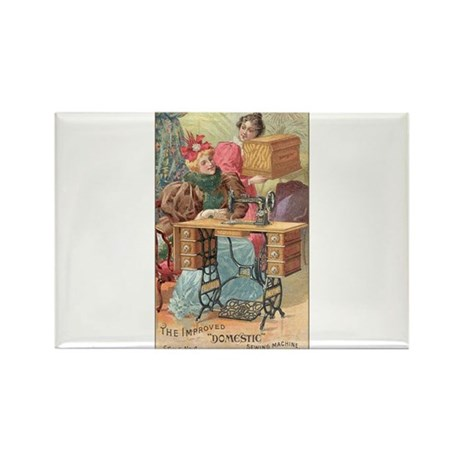 Vintage Sewing Machine Ad Rectangle Magnet (100 pa