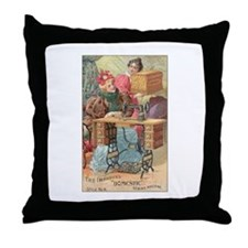 Vintage Sewing Machine Ad Throw Pillow