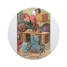 Vintage Sewing Machine Ad Ornament (Round)