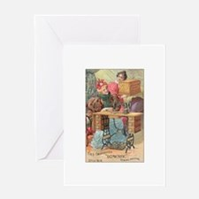 Vintage Sewing Machine Ad Greeting Card