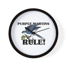 Purple Martins Rule! Wall Clock